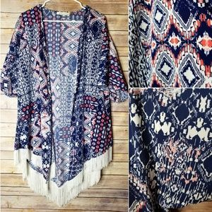 Liberty Love XL Ikat long Fringe kimono blue
